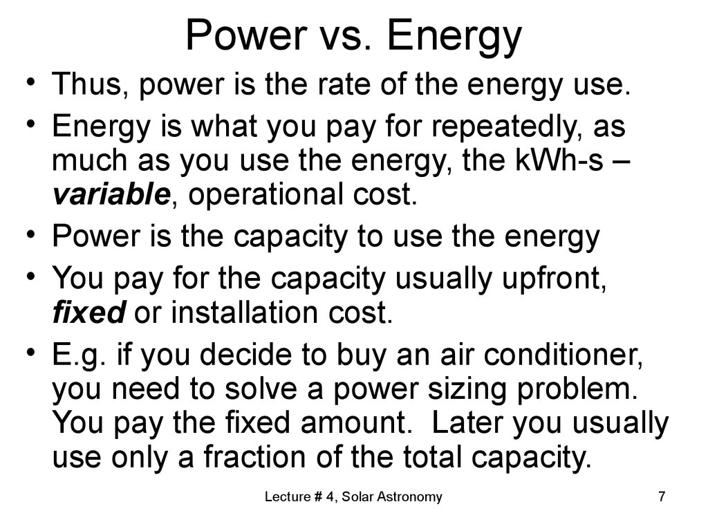 Power vs. Energy