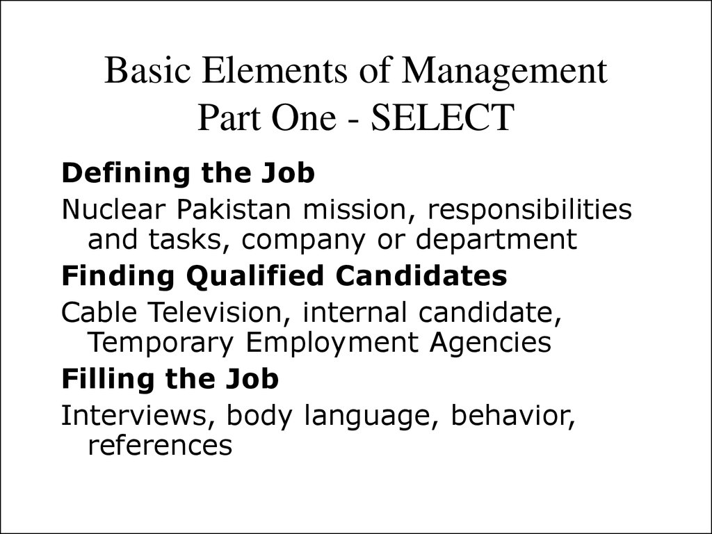 Basic Elements of Management Part One - SELECT