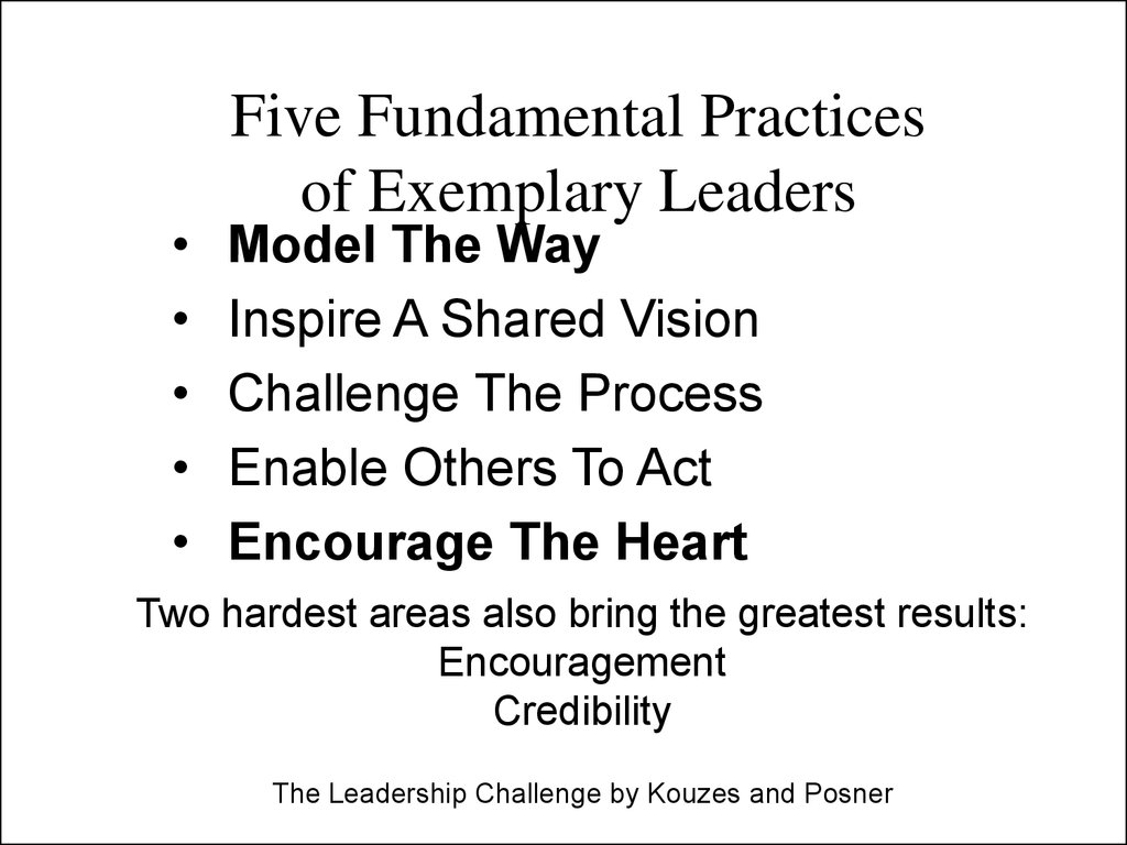 Five Fundamental Practices of Exemplary Leaders