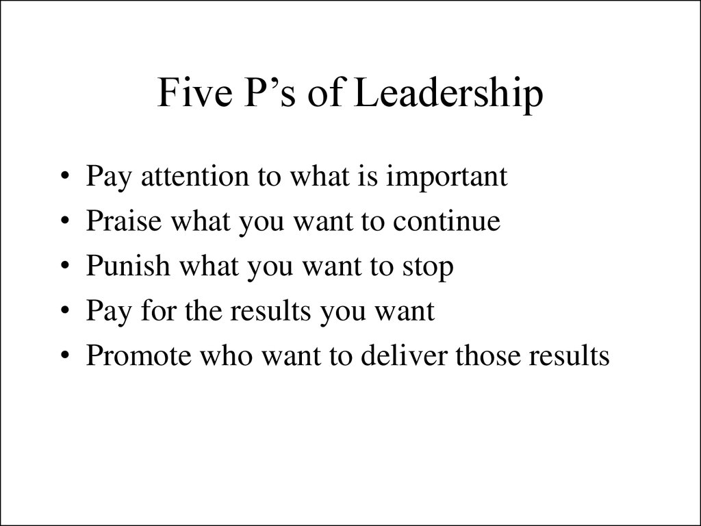 Five P's of Leadership