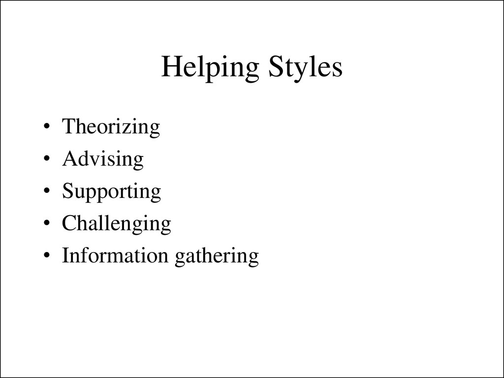 Helping Styles