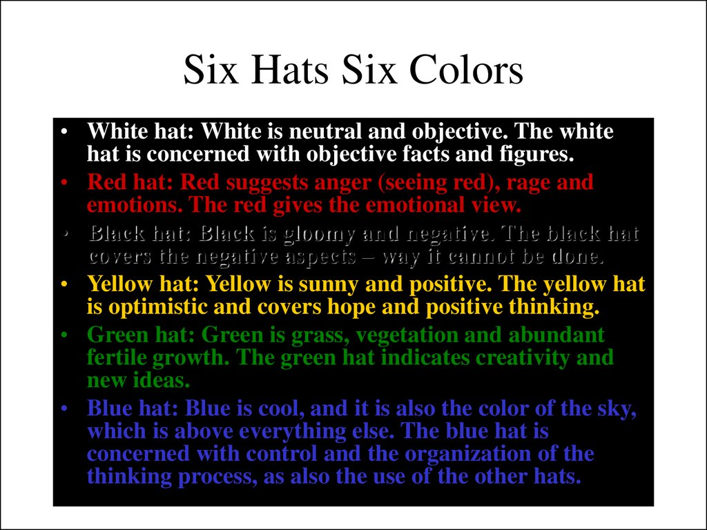 Six Hats Six Colors