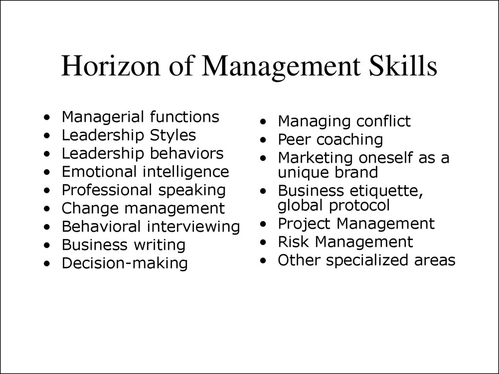 Horizon of Management Skills