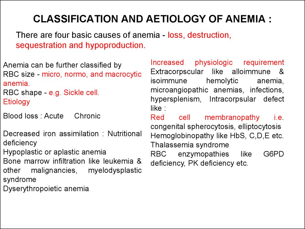 Pathophysiology Of Anemia Ppt