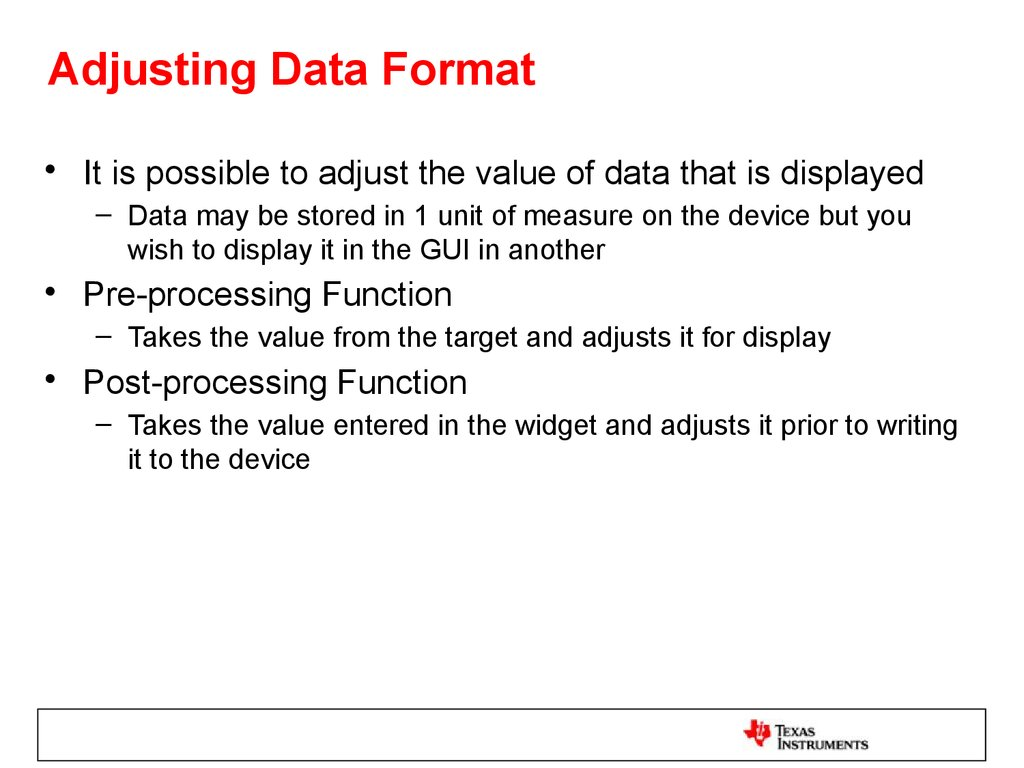 Adjusting Data Format