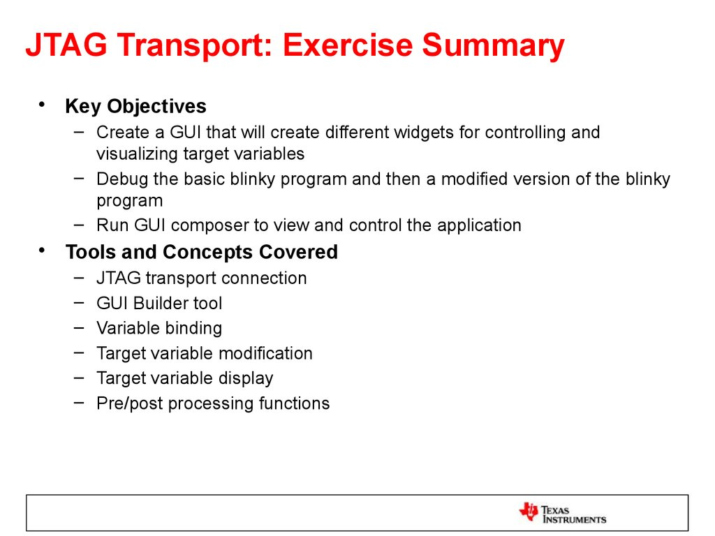 JTAG Transport: Exercise Summary