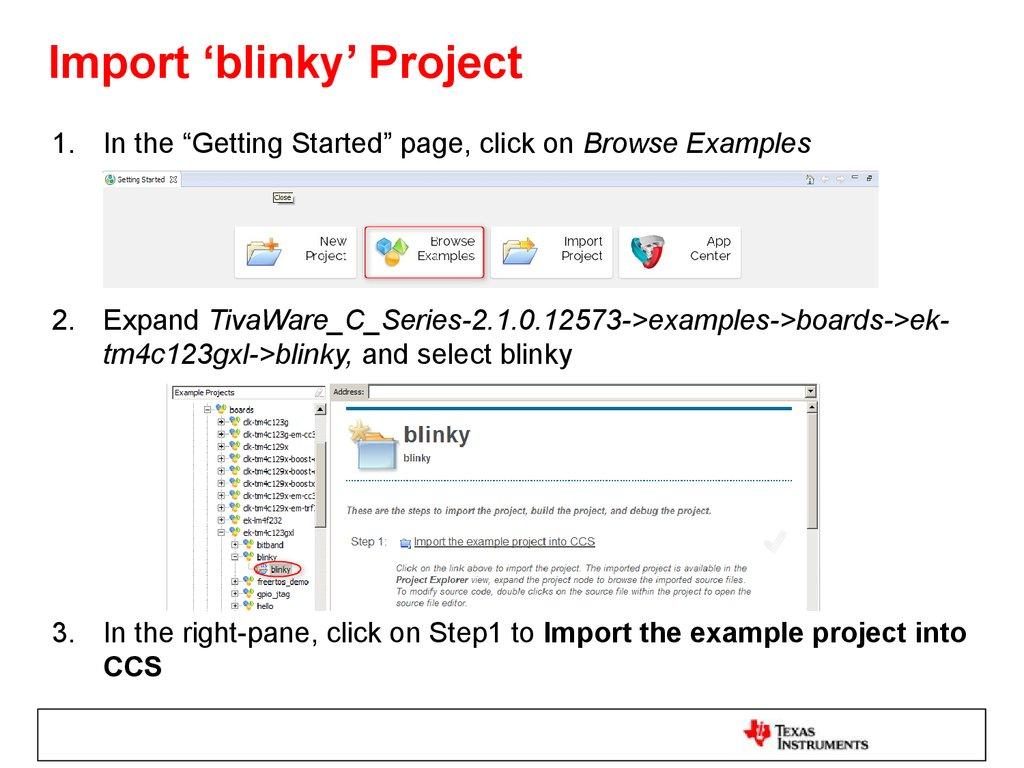Import 'blinky' Project