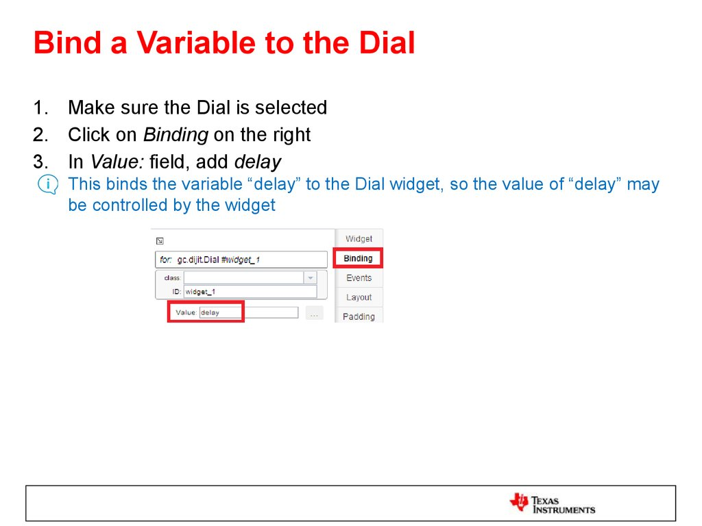Bind a Variable to the Dial