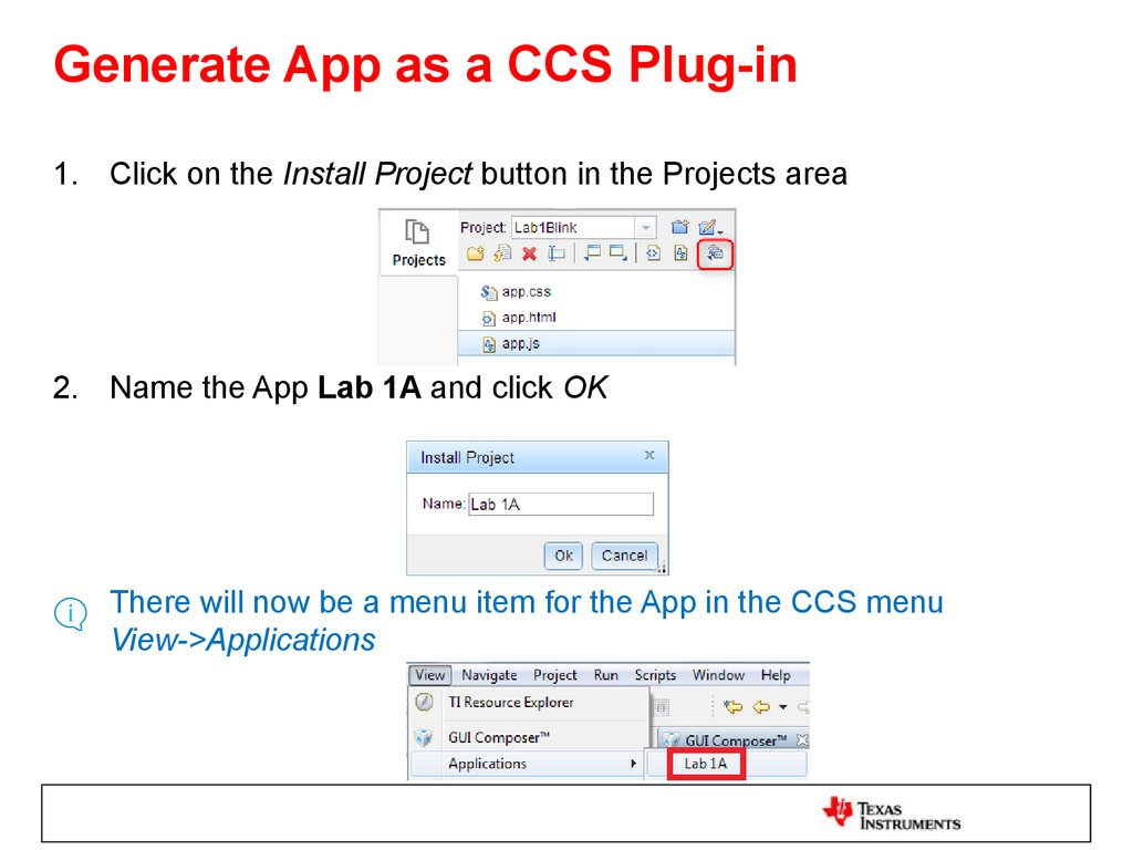 Generate App as a CCS Plug-in