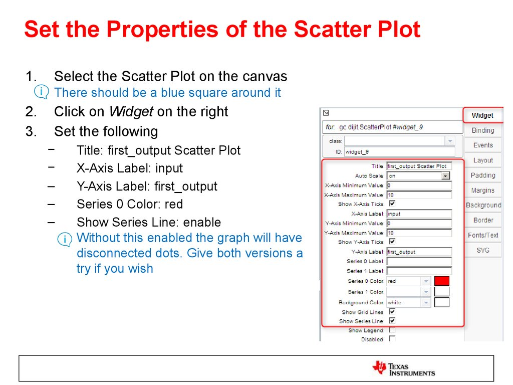 Set the Properties of the Scatter Plot