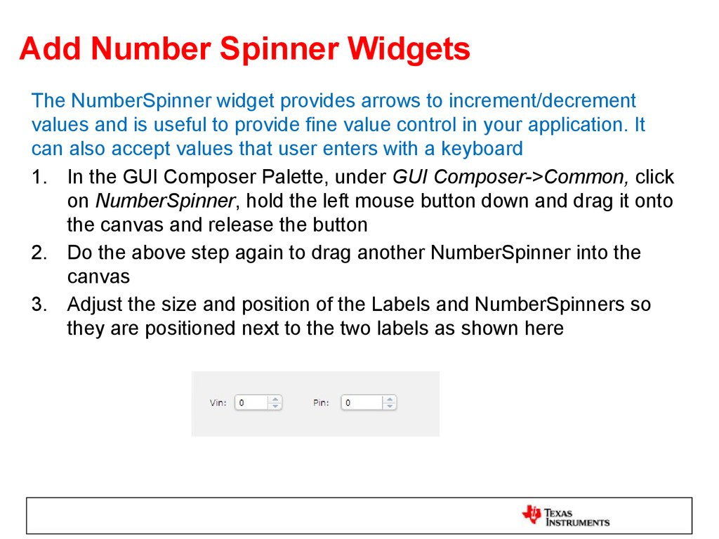 Add Number Spinner Widgets