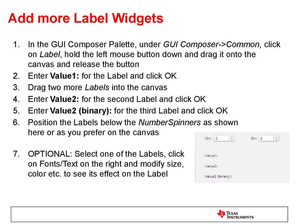 Add more Label Widgets
