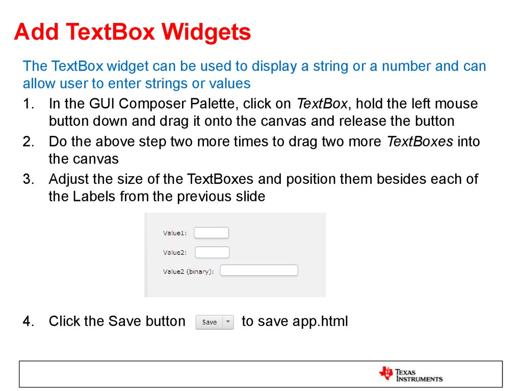 Add TextBox Widgets