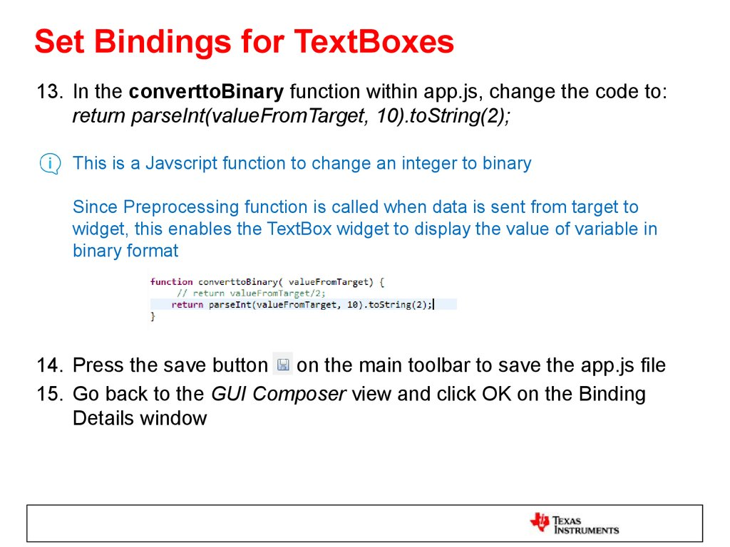Set Bindings for TextBoxes