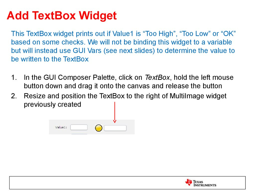 Add TextBox Widget