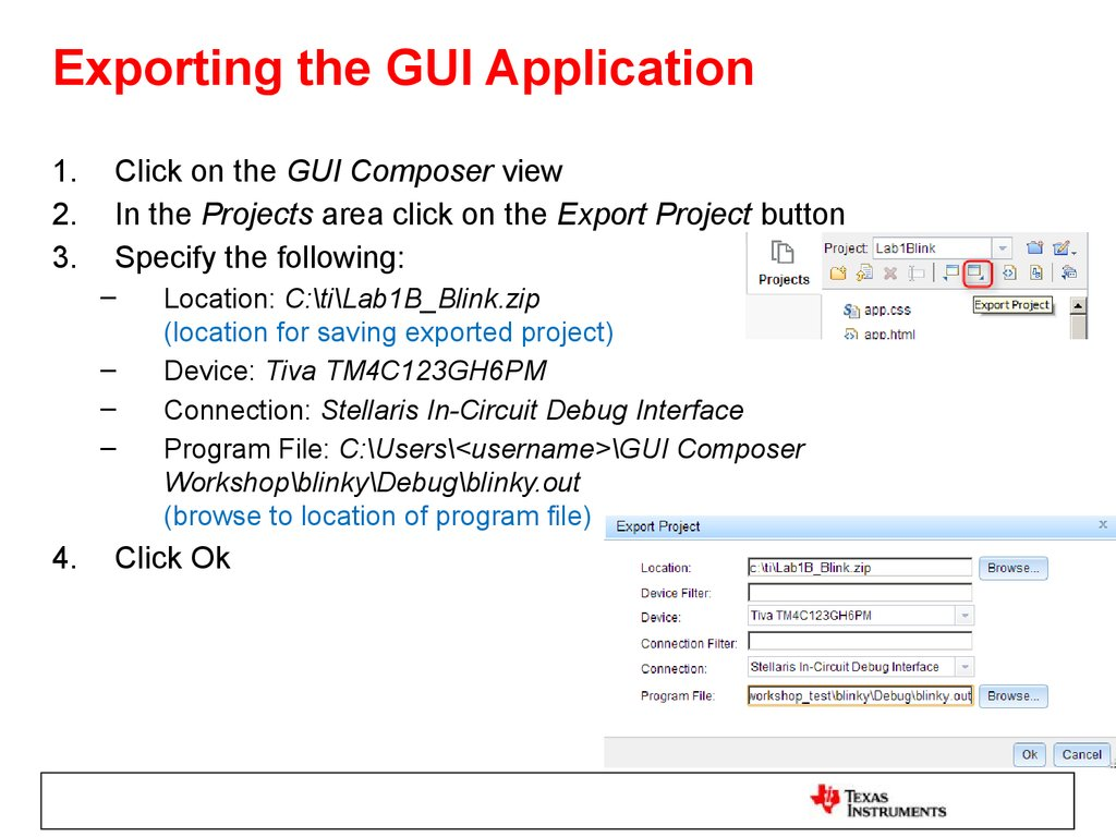 Exporting the GUI Application