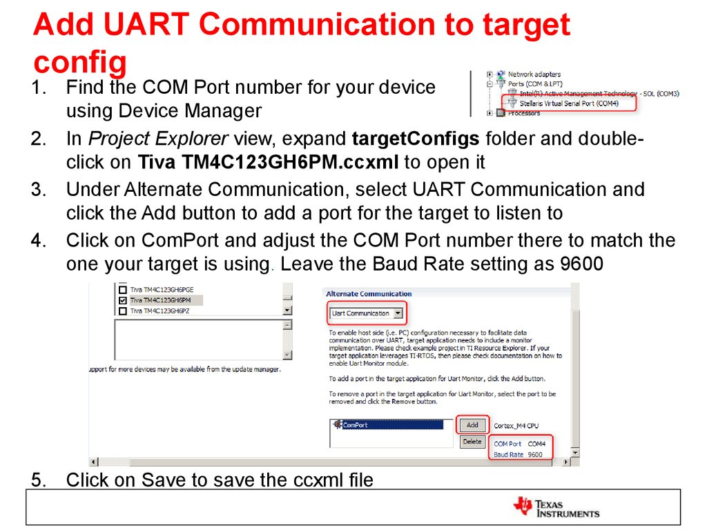 Add UART Communication to target config