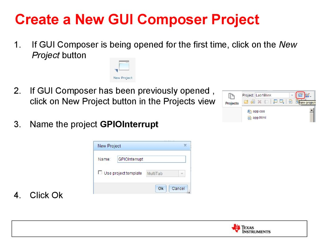 Create a New GUI Composer Project