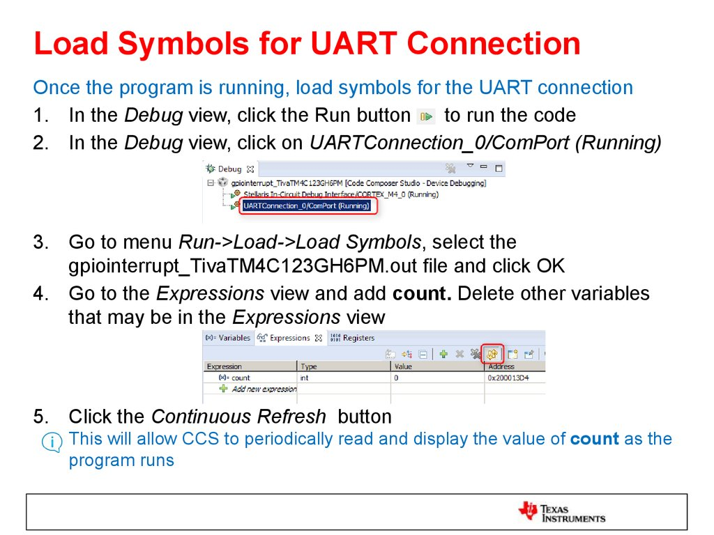 Load Symbols for UART Connection