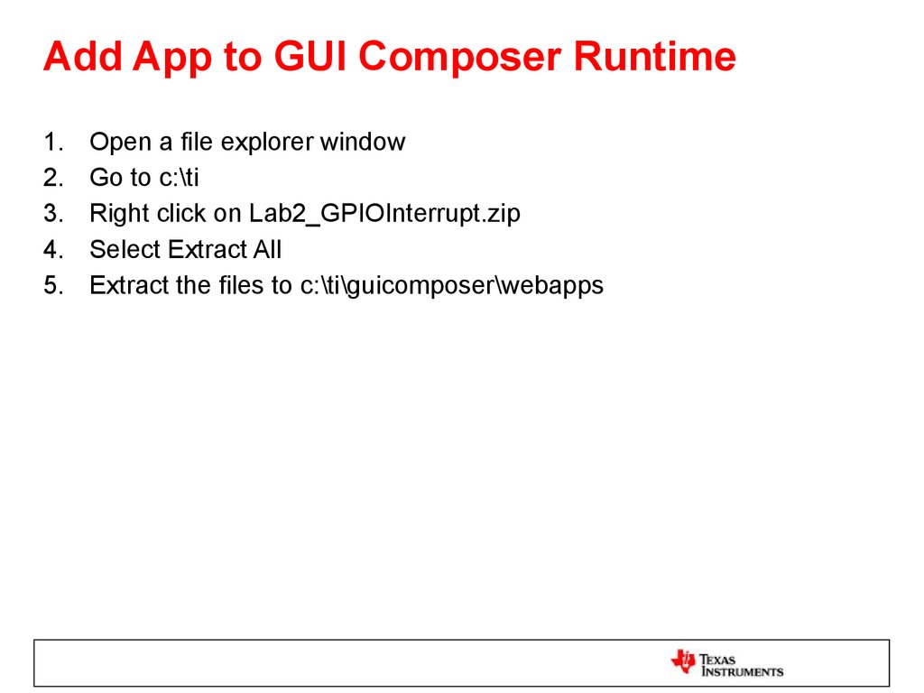 Add App to GUI Composer Runtime