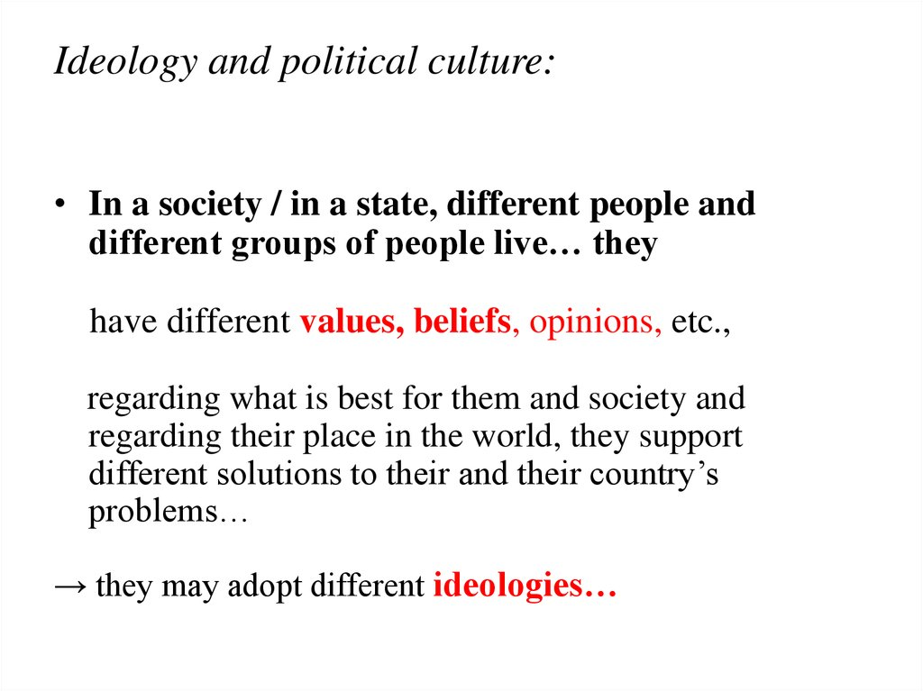 Ideology and political culture:
