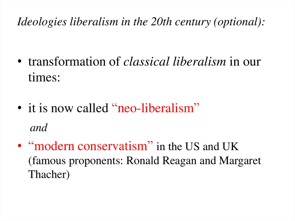 modern conservatism and modern liberalism Classical liberalism vs modern liberalism and modern conservatism in the history of politics, there is only one fundamental, abiding issue: it.