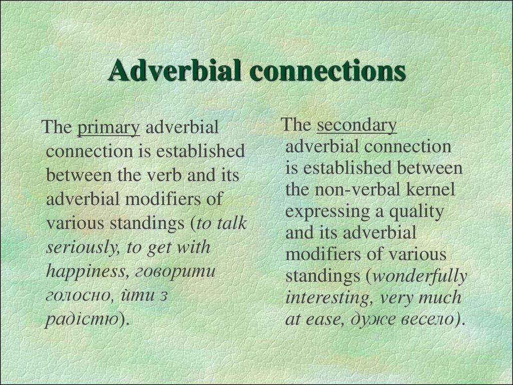 Adverbial connections