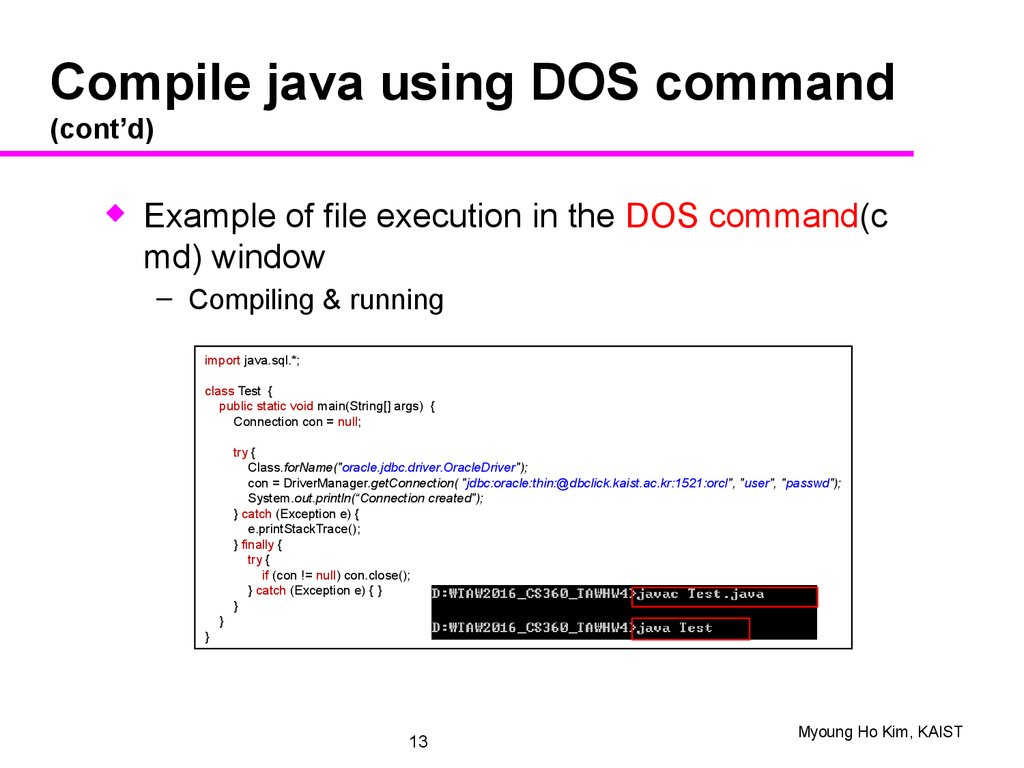 JDBC: introduction, example, main classes & methods, driver