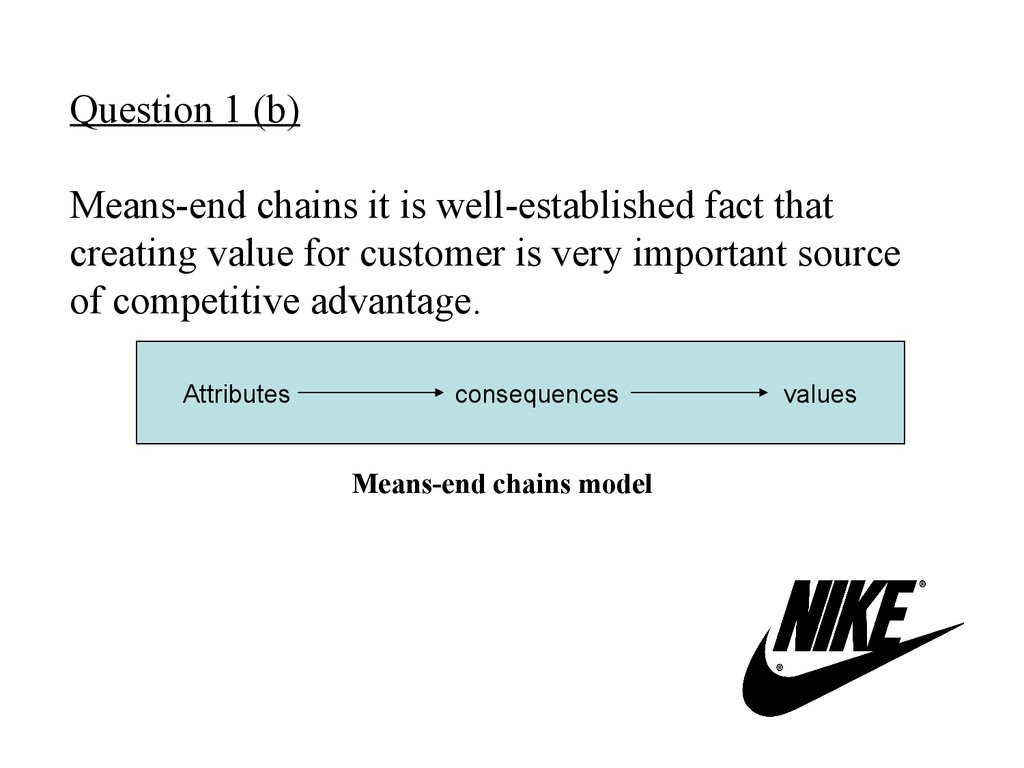 Question 1 (b) Means-end chains it is well-established fact that creating value for customer is very important source of competitive advantage.