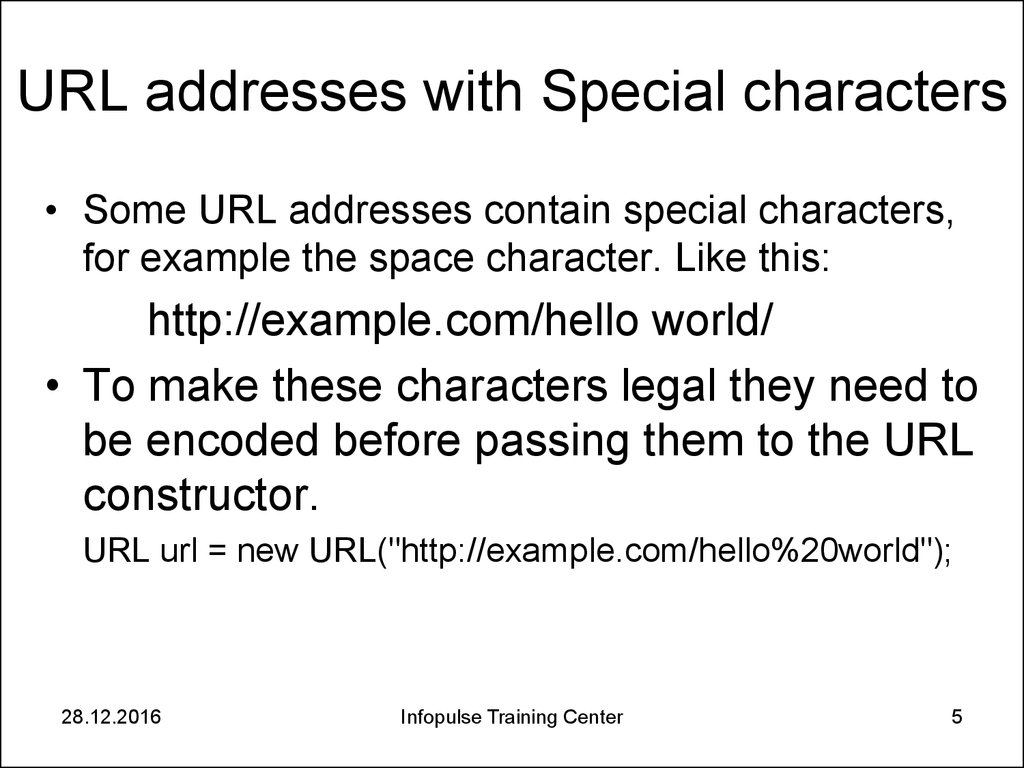 URL addresses with Special characters