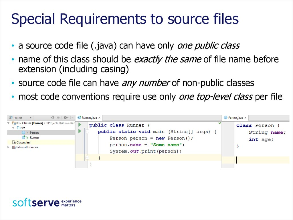Special Requirements to source files