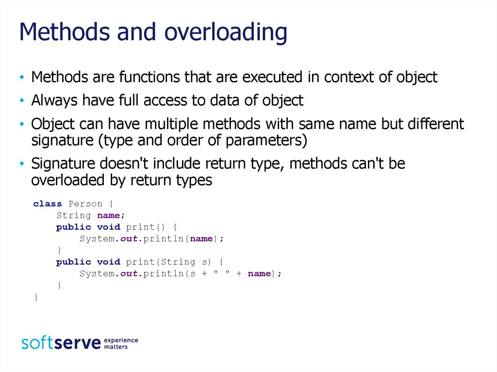 Methods and overloading