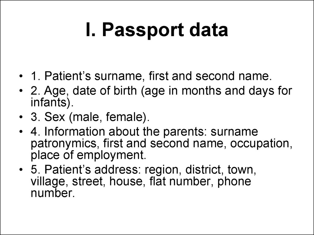I. Passport data