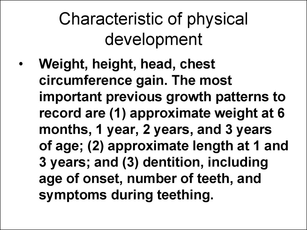 Characteristic of physical development