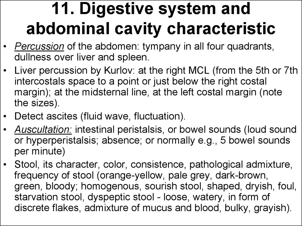 11. Digestive system and abdominal cavity characteristic
