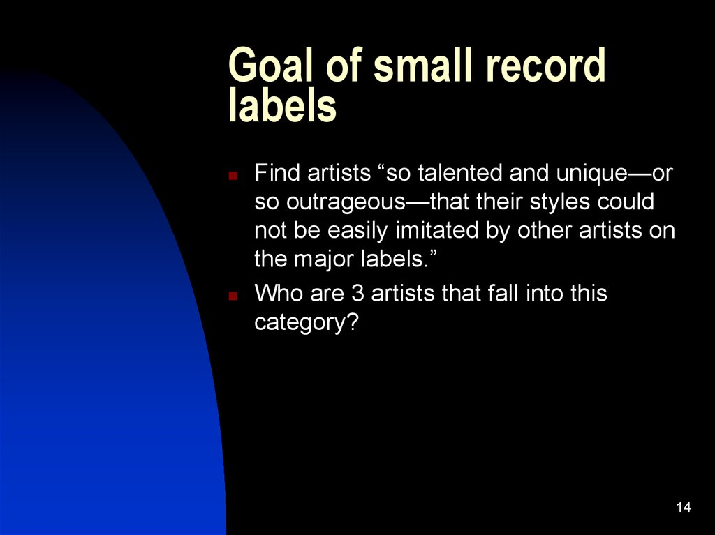 Goal of small record labels