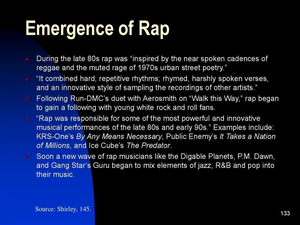 Emergence of Rap