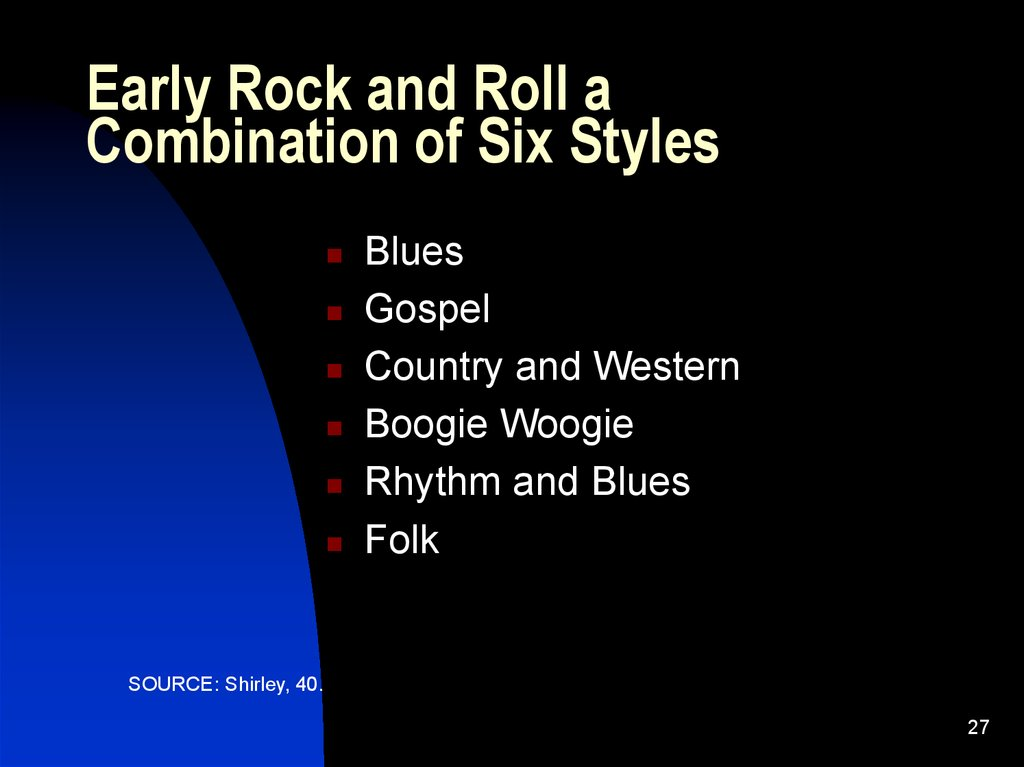 Early Rock and Roll a Combination of Six Styles
