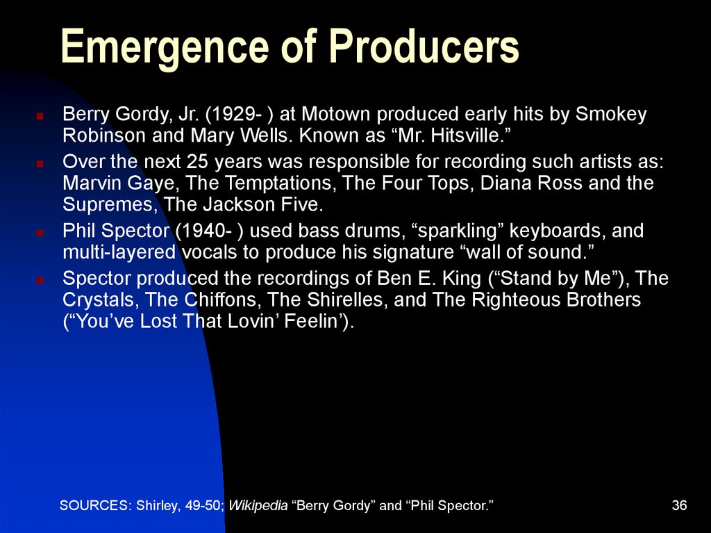 Emergence of Producers
