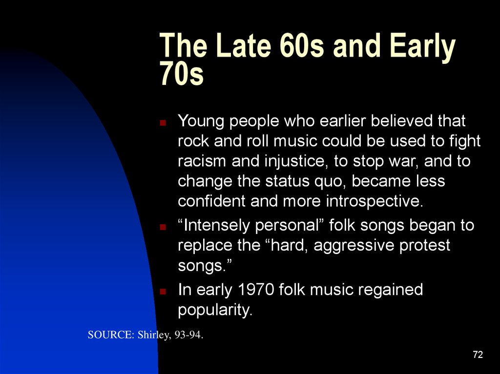 The Late 60s and Early 70s