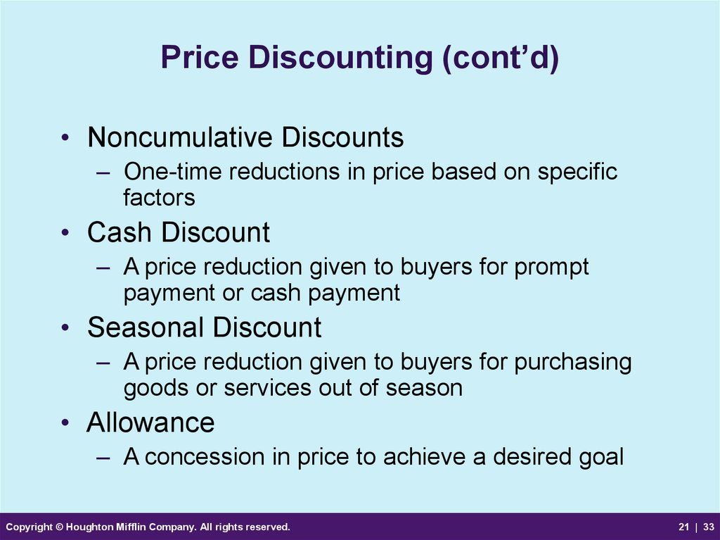 Price Discounting (cont'd)