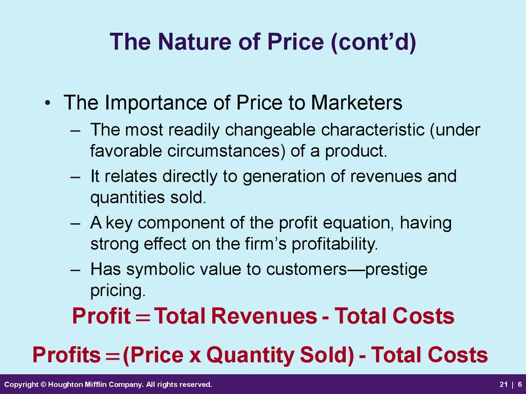 The Nature of Price (cont'd)