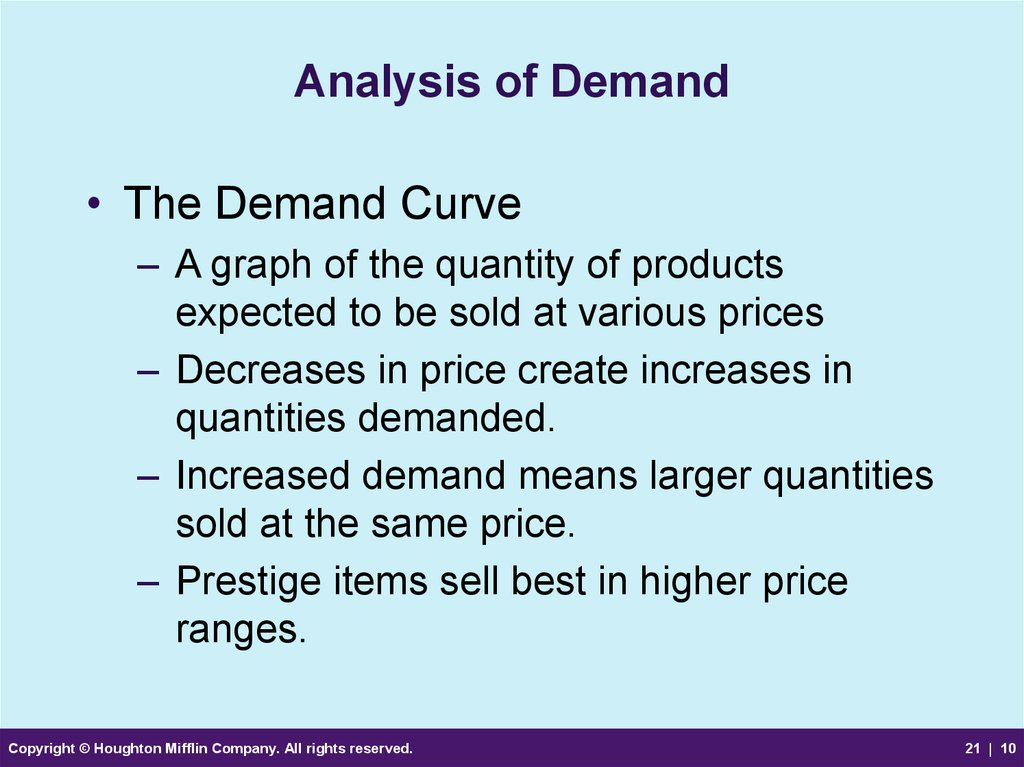 Analysis of Demand