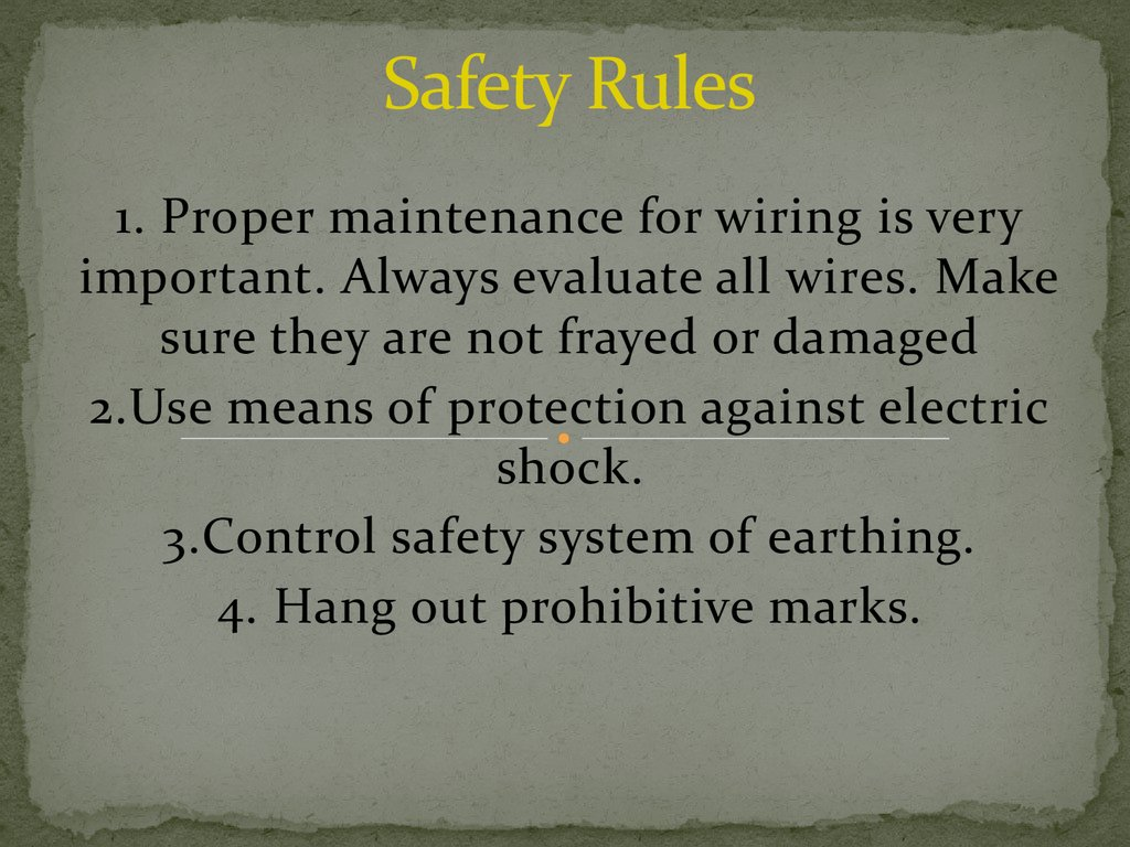 Rules of exploitation of electric devices - online presentation