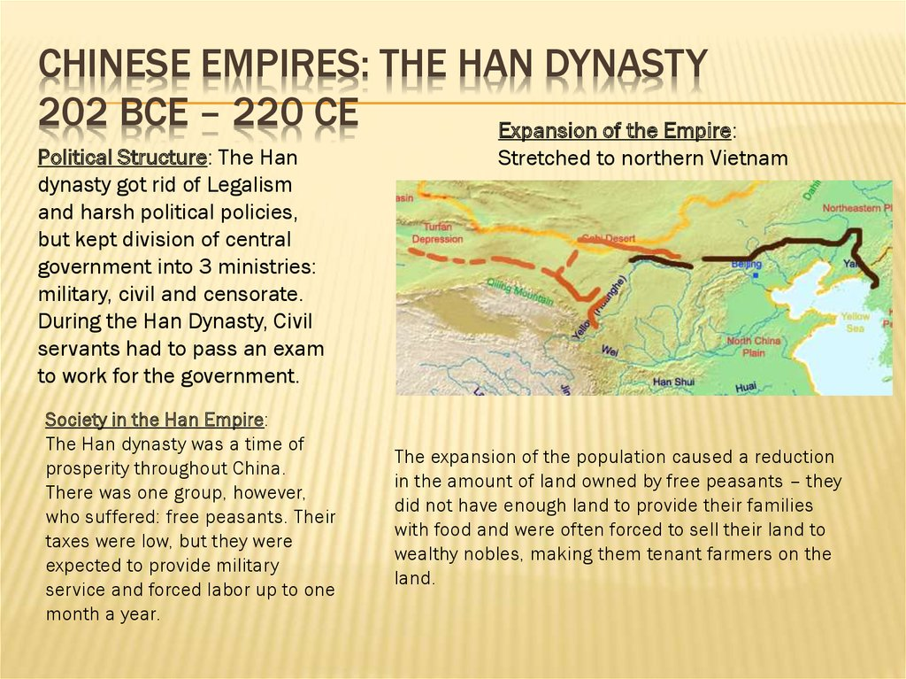 Chinese empires: the han dynasty 202 bce – 220 ce