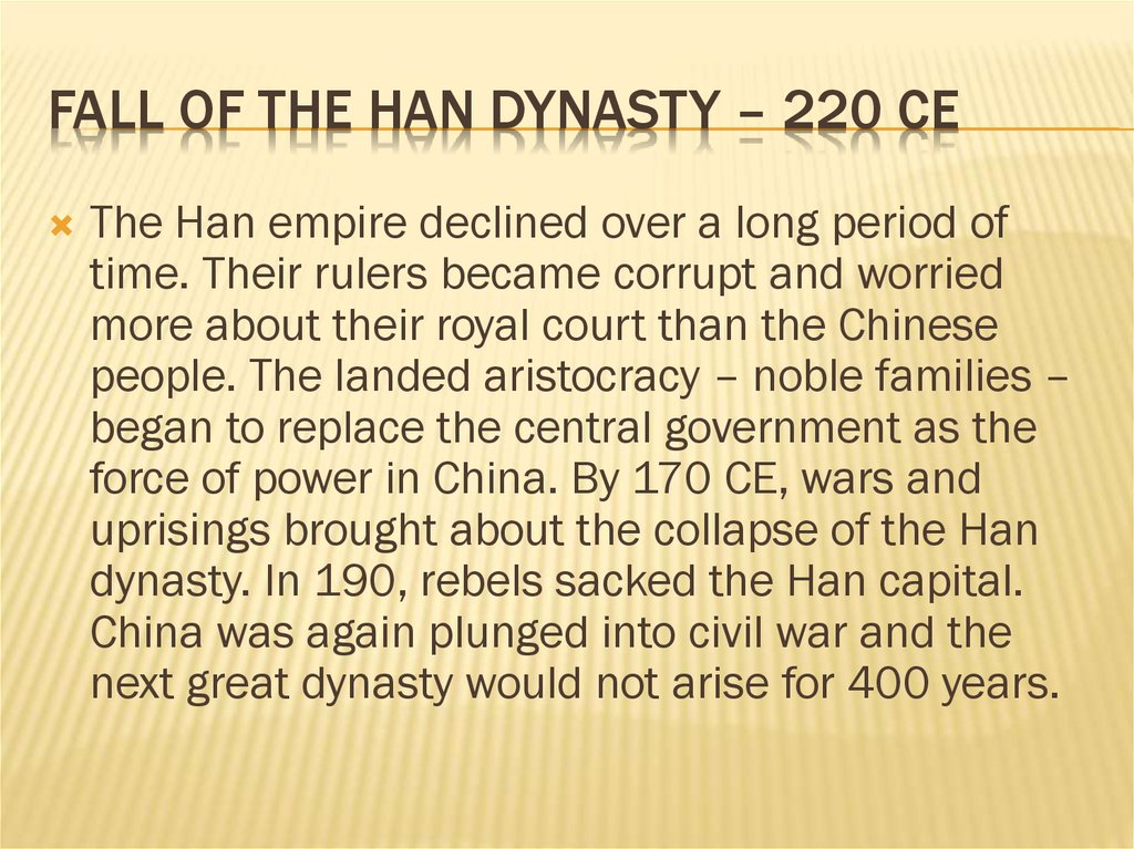 Fall of the han dynasty – 220 ce