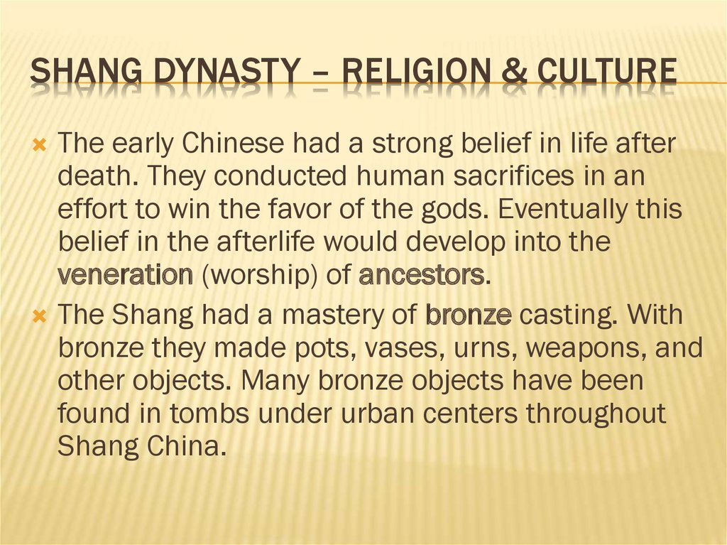 Shang dynasty – religion & culture