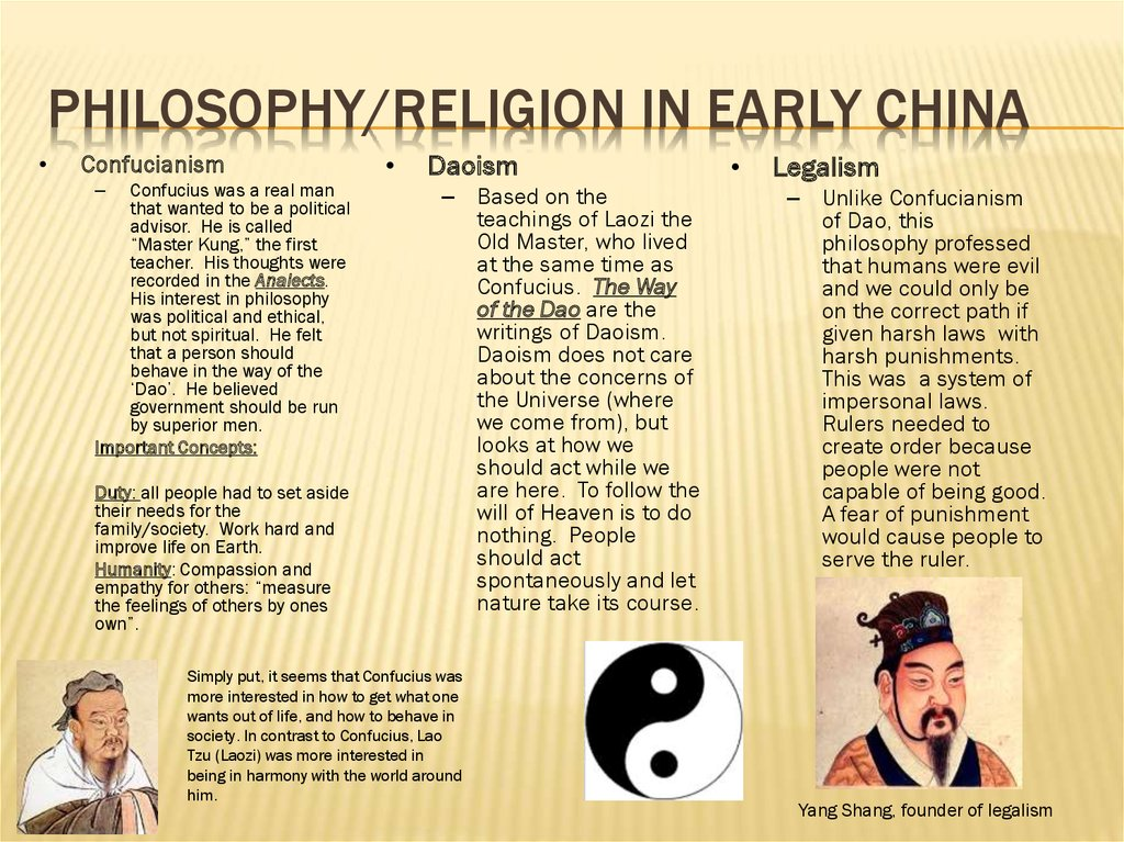 Philosophy/religion in early china