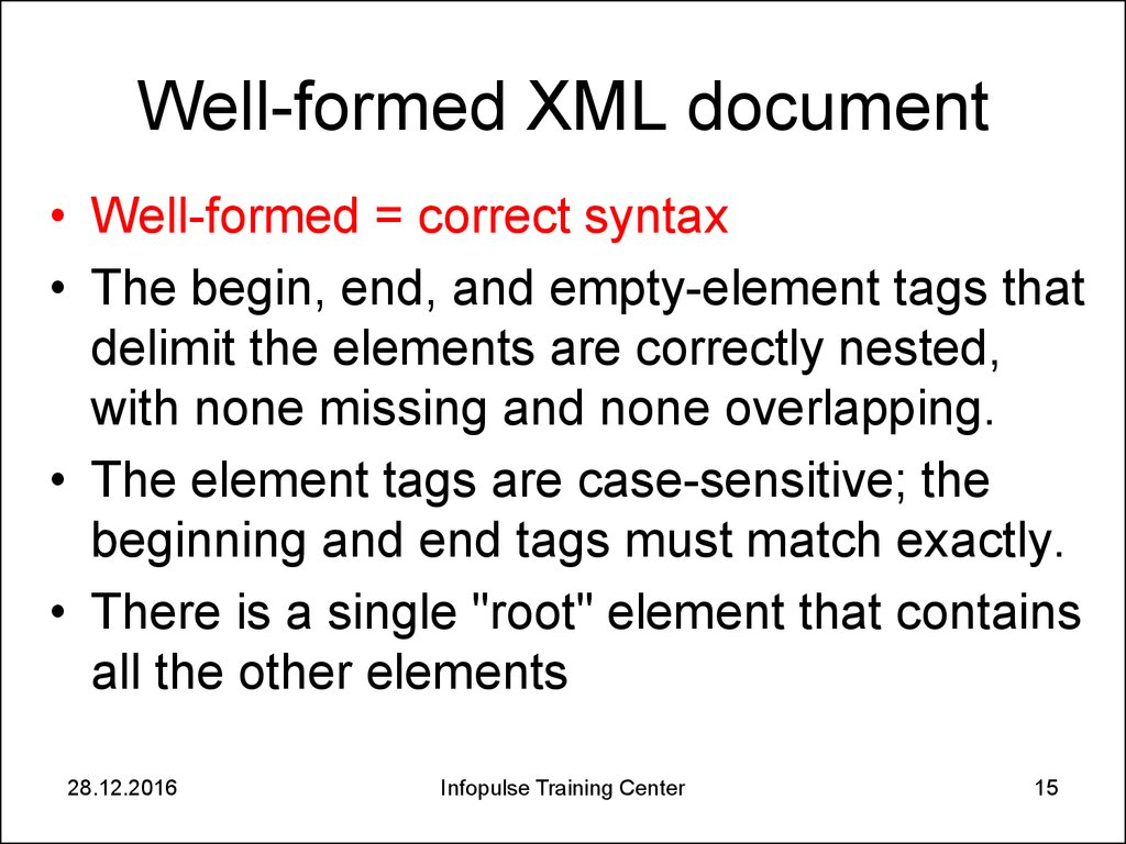 Well-formed XML document
