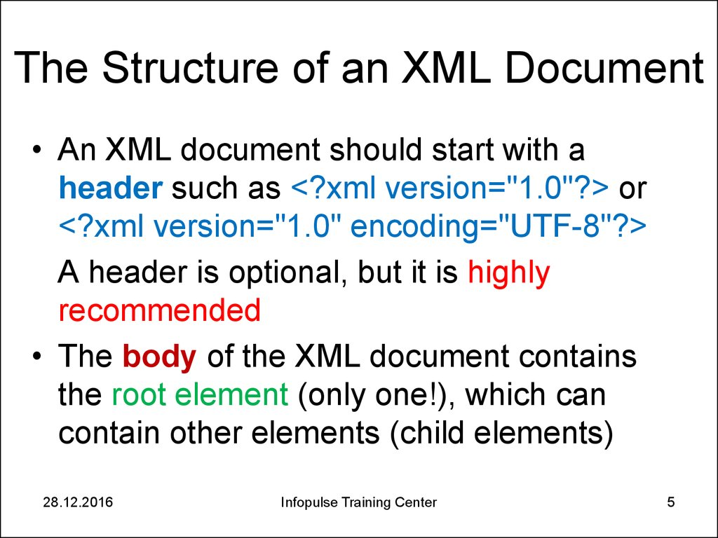 The Structure of an XML Document